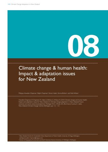 Climate change & human health: Impact & adaptation issues for ...