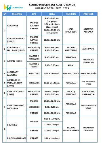 click para Descargar Horarios Talleres CIAM - 2013
