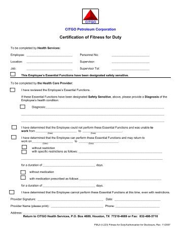release form from doctor to return to work