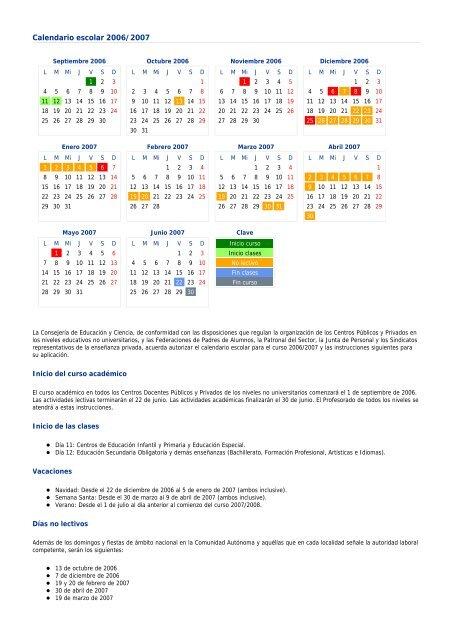 Calendario Escolar Asturias.Calendario Escolar 2006 2007 Educastur Princast