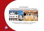 Hochzeitsangebot 2012 - Hotel - Restaurant Schwanen