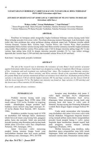 Uji Ketahanan Beberapa Varietas Kacang Tanah Lokal Bima ...