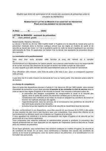 Lettre de mission type de la nouvelle circulaire du 09/08/2011