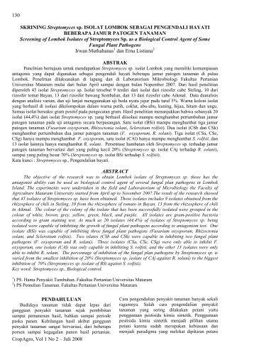 CropAgro, Vol 1 No 2 – Juli 2008 130 SKRINING Streptomyces sp ...