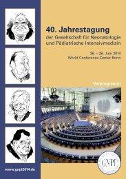 Vorprogramm - 40 Jahrestagung der Gesellschaft für Neonatologie ...