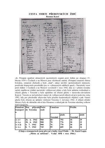 Střípky z historie - Cesta smrti přerovských židů - Karel Rosmus