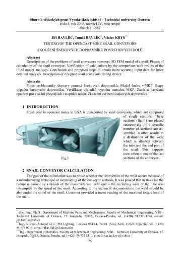 1 introduction 2 snail conveyor calculation - Transactions