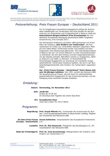EBD PRO Preis Frauen Europas 11-11-24 Einladung