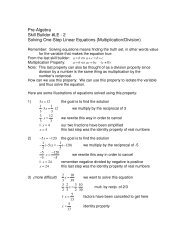 Solving One-Step Linear Equations (Multiplication/Division)