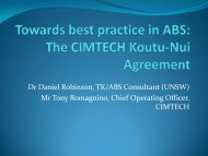 The CIMTECH Koutu-Nui Agreement - ABS Capacity Development ...