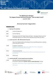 Annotated Agenda - ABS Capacity Development Initiative