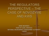 THE REGULATORS PERSPECTIVE – THE CASE OF NOVOZYMES ...