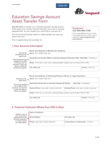 Vanguard 403(b)(7) New Account Application and Asset Transfer Form