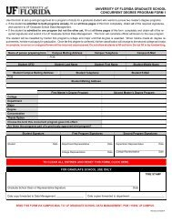 Concurrent Degree Program Form - Graduate School - University of ...