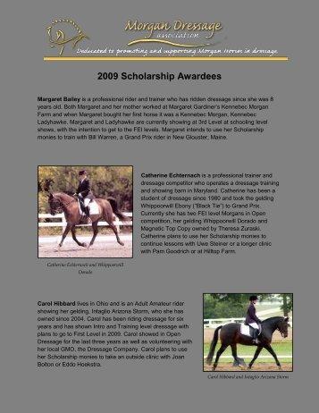 2009 Scholarship Awardees - Morgan Dressage Association