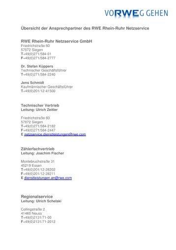 Ãœbersicht der Ansprechpartner ( PDF   39 KB ) - RWE Rhein-Ruhr ...