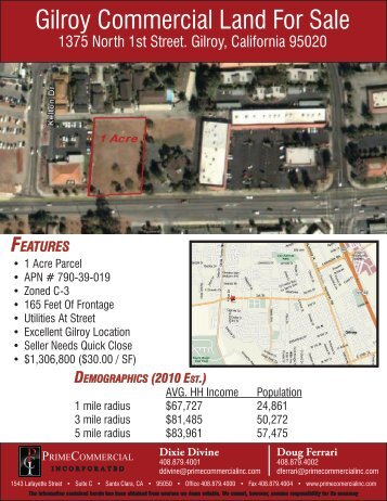 Gilroy Commercial Land For Sale - Prime Commercial, Inc