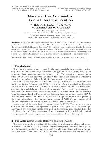 Gaia and the Astrometric Global Iterative Solution - Cambridge ...