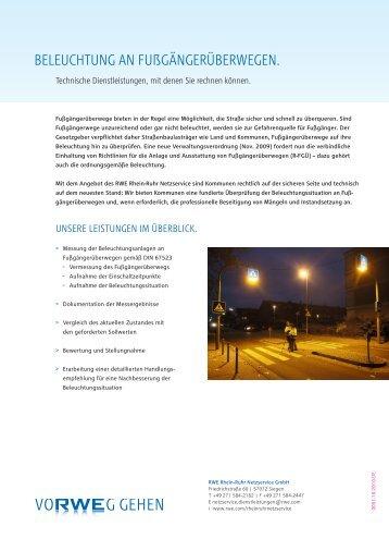 beleuchtung an fußgängerüberwegen. - RWE Rhein-Ruhr Netzservice