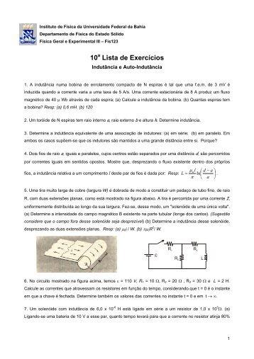 10 a Lista - Instituto de Física da UFBA - Universidade Federal da ...