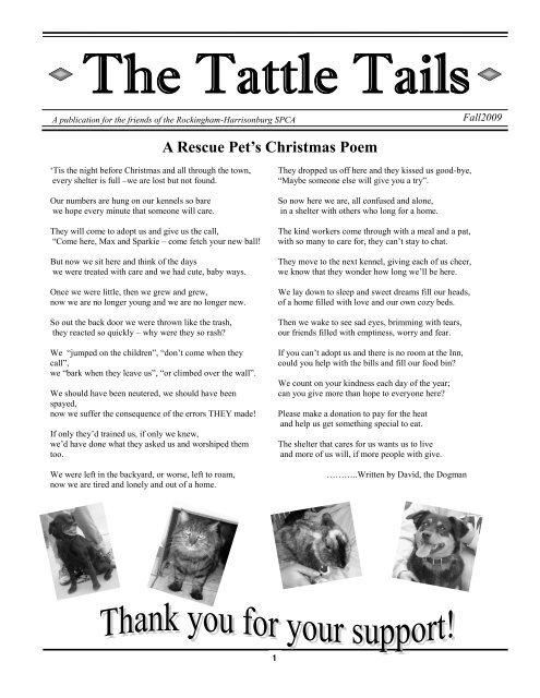 A Rescue Pets Christmas Poem Rockinghamharrisonburg Spca