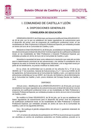 ORDEN EDU/383/2013, de 22 de mayo