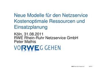 Neue Modelle für den Netzservice ... - RWE Rhein-Ruhr Netzservice