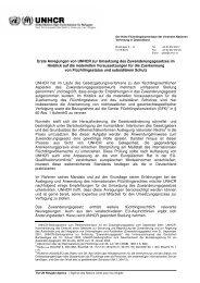 Erste Anregungen von UNHCR zur Umsetzung des ...
