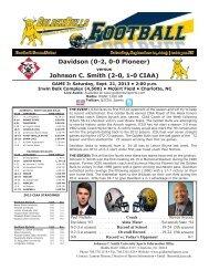 Week Three vs. Davidson - Johnson C. Smith University Athletics