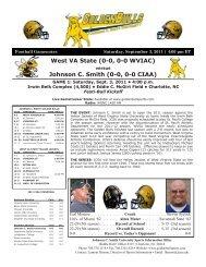 West VA State - Johnson C. Smith University Athletics