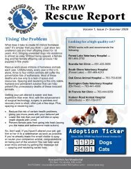 The RPAW Rescue Report - Rescued Pets Are Wonderful