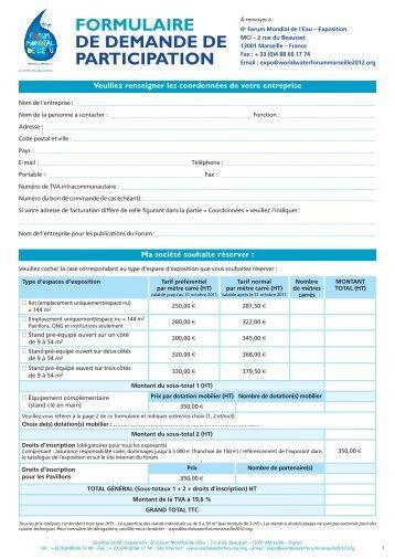 FORMULAIRE DE DEMANDE DE PARTICIPATION - 6th World Water Forum