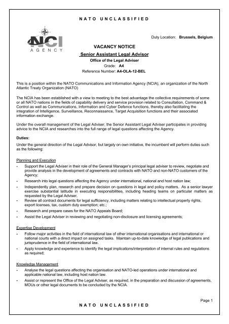 VACANCY NOTICE Senior Assistant Legal Advisor - NCI Agency