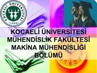 kocaeli üniversitesi mühendislik fakültesi makina mühendisliği bölümü