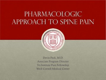 PHARMACOLOGIC APPROACH TO SPINE PAIN
