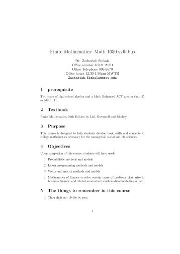 math 116 syllabus Syllabus for math 116: combinatorics spring 2005 instructor: jon mccammond office hours: t 1:00-1:50, th 12:00-1:50 or by appointment in south hall 6711.