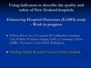 Using indicators to describe the quality and safety of New Zealand ...
