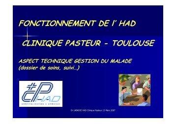 FONCTIONNEMENT DE l' HAD CLINIQUE PASTEUR - Parhtage santé