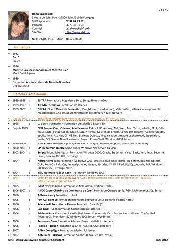 mon CV au format PDF - Denis Szalkowski Formateur Consultant