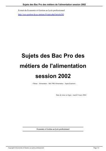 Sujets des Bac Pro des métiers de l'alimentation session 2002