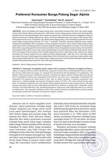 Preferensi Konsumen Bunga Potong Segar Alpinia - Hortikultura