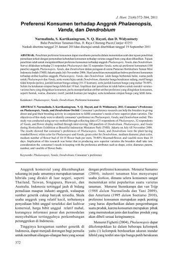 Preferensi Konsumen terhadap Anggrek Phalaenopsis ... - Hortikultura