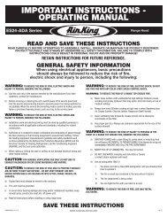IMPORTANT INSTRUCTIONS - OPERATING MANUAL - Air King