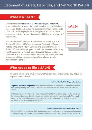 Statement of Assets, Liabilities, and Net Worth (SALN)