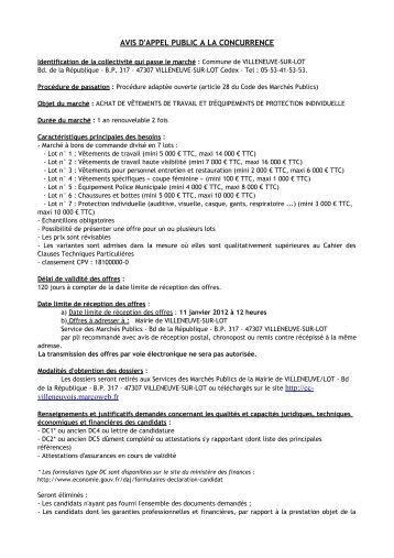 AVIS D'APPEL PUBLIC A LA CONCURRENCE ... - Villeneuve sur Lot
