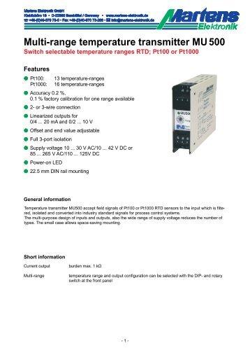 MU500-00- Prospekt - Martens Elektronik GmbH