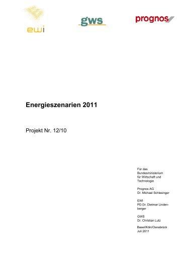 "Download: Studie ""Energieszenarien 2011"" - Prognos AG"