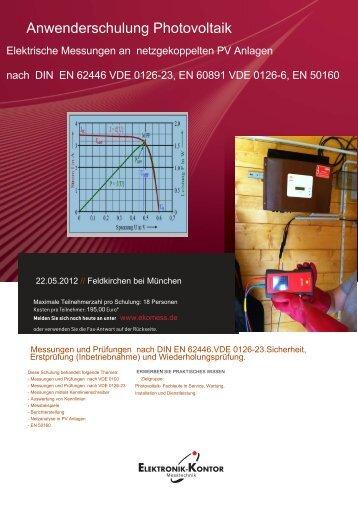 Anwenderschulung Photovoltaik - Elektronik-Kontor Messtechnik ...