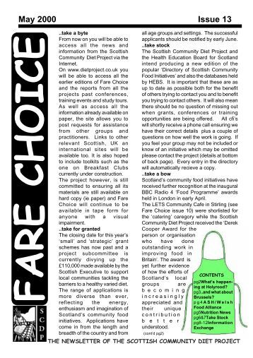 Fare Choice Issue 13 - Community Food and Health