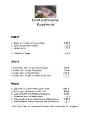 Speisekarte des Restaurants Koppelweide - Oberberg heute